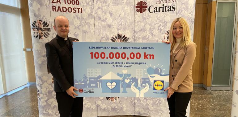 """Lidl Hrvatska donirao prehrambene proizvode u sklopu programa """"Za 1000 radosti"""" Hrvatskoga Caritasa"""